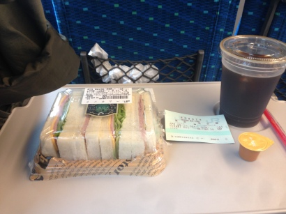Sandwich & Iced Coffee on the almighty Shinkansen.