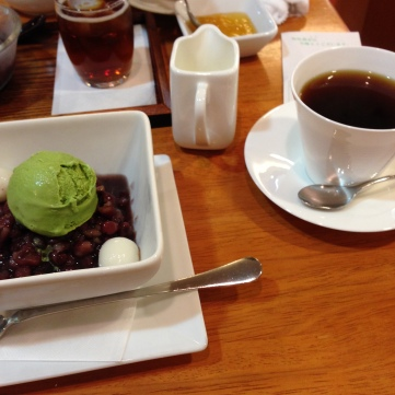 Zenzai with Matcha Ice cream…and coffee :)