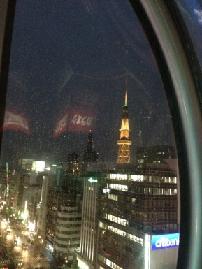 On the Sakae Sunshine. The view wasn't the best, but the night lights and the rain made everything seem beautiful.