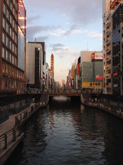 Most favorite moment on this trip. Dotonbori River walk and the sunset.
