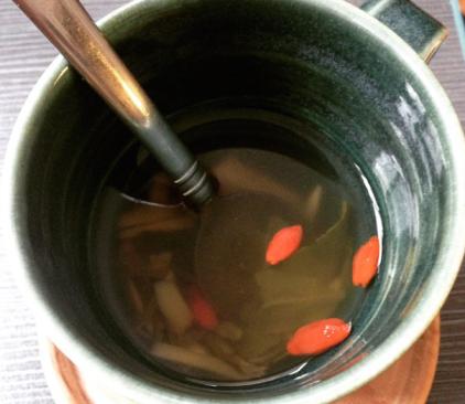 my medicine: Fresh Ginger, Goji Berries, honey, green tea