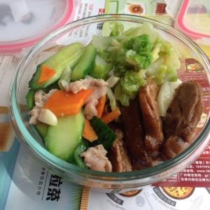 Lunch: Duck, Stir vegetables and pork, greens