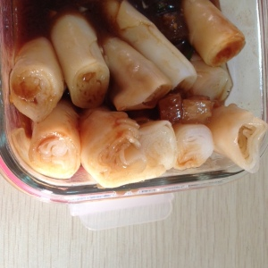 Breakfast: rolled noodles. I've had these in Seattle before.